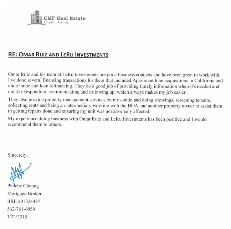 LeRu Investments Testimonials from clients, investors and our circle of contacts.